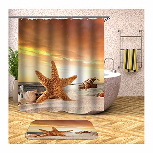 Anyeda Duschvorhang Fußmattensatz Polyester Seestern und Flasche Wasserdichter Vorhang O5 Bunt Duschvorhang 150X180Cm Plus Bodenmatte 40X60CM