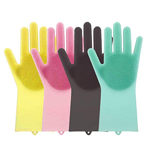 EVADELY Silicone Scrubbing Gloves for Household Cleaning Great for Protecting Hands   Freesize - Multicolour