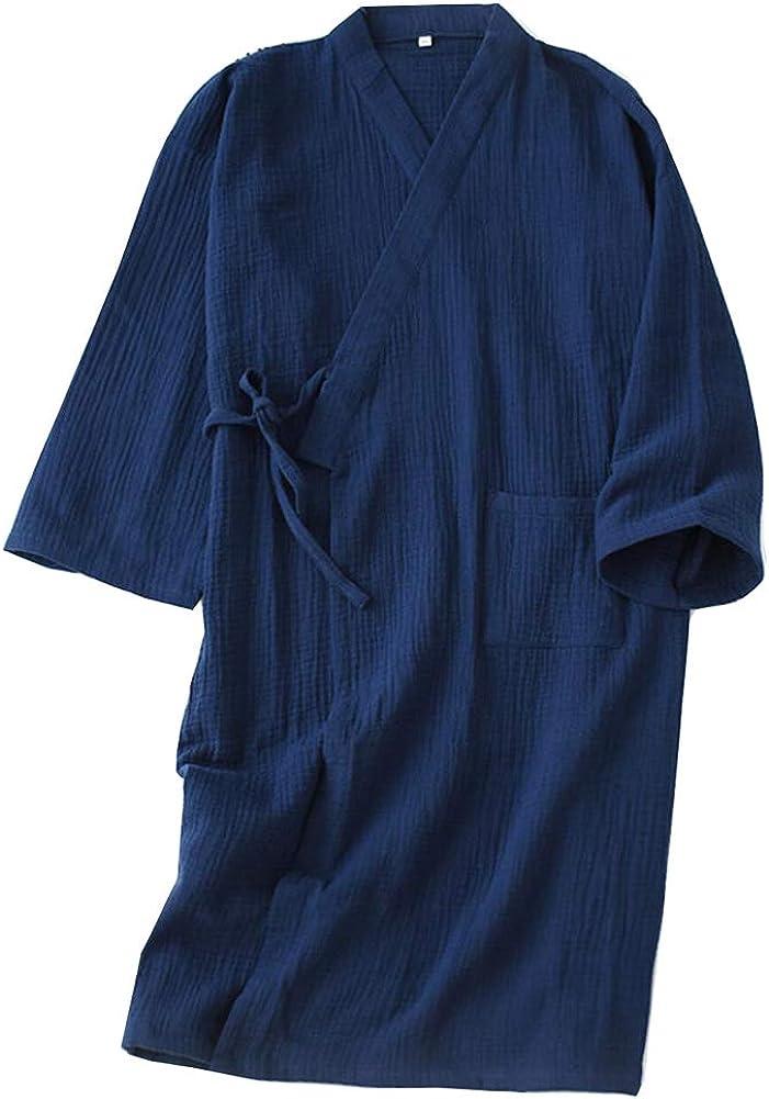 Japanese Men's shop Robe Cotton Dressing Gown Kimono Nightgow Now on sale Pajamas