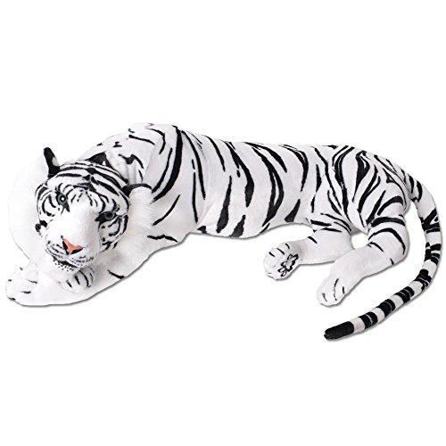 TE Moda XXL Peluche Tigre Peluche Tigre de Tela Realista Gato Grande Tumbado Jungla ESTEPA 90cm Blanco Negro atigrado