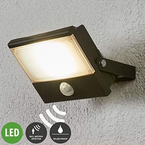 Lampenwelt LED buitenlamp 'Auron' met bewegingssensor (modern) uit aluminium, inclusief lichtbron - buitenlamp, buitenspot