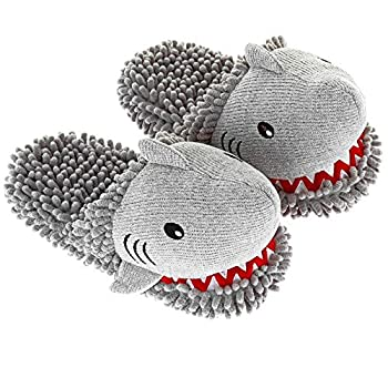 Aromahome Aroma Home Women s Shark Animal Fuzzy Friends Warm Slippers Grey Large