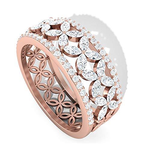 Piedra de nacimiento de abril — anillo redondo y talla marquesa de diamantes, anillo de eternidad completo de diamante HI-SI, anillo de flor, 14K Oro rosa, Size:EU 70