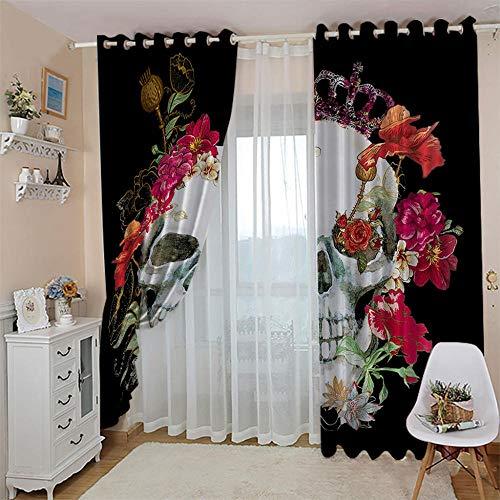 WAFJJ Cortinas Dormitorio Moderno Flores y Calavera Blackout Curtain Cortina Opaca Suave para Ventanas de Habitación Juvenil con Ojales Estar Niño Tamaño:2x75x166cm(An x Al)