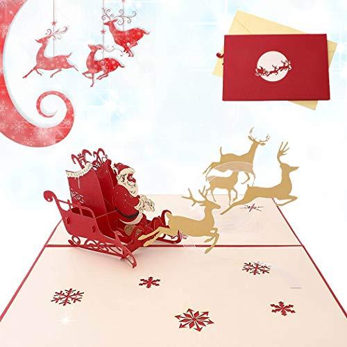 Sethexy 3D Cartoline natalizie Apparire Babbo Natale Santa Elk Biglietti d'auguri con buste Romantico Regali di buon Natale per la famiglia migliore amico fidanzato fidanzata