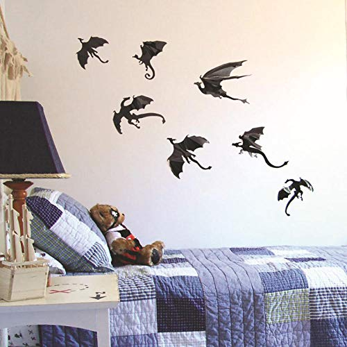 Wand 7 Stück/Set Fantasy Halloween Fun Aufkleber für Kinderzimmer Dekoration Dinosaurier Jungen Geschenk 3D Dragon Dragon Wandkunst Silhouetten 12 cm x 14 cm