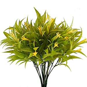 Artificial Lily Flowers XYXCMOR 4pcs UV Plants Fake Shrubs Bushes Plastic Greenery Plants Faux Indoor Outdoor Wedding Table Cemetery Vase Decor Yellow