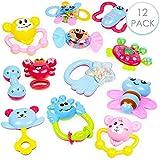 12 Baby Toy Rattle Geschenkset - Attraktive Beißringe, Spinnrassel, Babyrassel, Schüttelglocke, Greifling - Sensorisches Beißring-Set - Rassel Beißring Spielzeug, 100% Ungiftig & BPA-frei