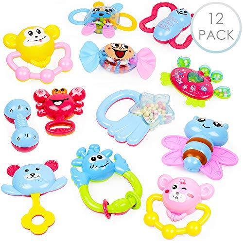 12 Baby Toy Rattle Geschenkset - Attraktive Beißringe, Spinnrassel, Babyrassel, Schüttelglocke, Greifling - Sensorisches Beißring-Set - 100% ungiftig & BPA-frei