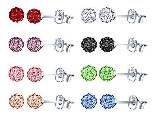8 Paires Boucles d'oreilles boule disco ronde en Argent 925 et cristal pour femmes et filles, Couleur blanc/noir/rose/bleu/vert/violet/rouge/champagne