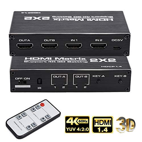 Support Ultra 4K HDR,4Kx2K@60Hz HDMI Matrix 4x2 1080P,HDMI 2.0b 4K HDMI Matrix Switch 4 in 2 Out Switcher Splitter Box with EDID Extractor and IR Remote Control HDCP 2.2 3D