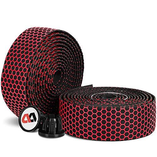 ICOCOPRO Lenkerband Rennrad, 2 Rollen rutschfeste, Atmungsaktive Eva Rennrad Lenkerband Schweißaufnahme, Selbstklebende & Stoßdämpfende Fahrradlenkergurte (Rot)