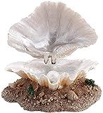 TBNB Decoración de Acuario Decoración de Acuario Arrecife de Coral Adorno de acción de aireación Concha de pecera Decoración de burbujeador de Perlas Cueva Tomando el Sol Escalada Plata
