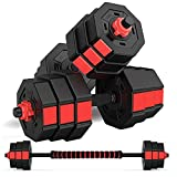 wolfyok Fitness Dumbbells Set, Adjustable Weight to 44Lbs, Home Fitness Equipment for Men and Women Gym Work Out Exercise Training with Connecting Rod Used as Barbells (Pair)