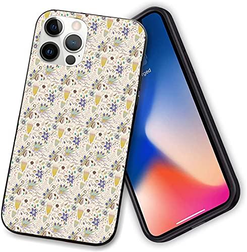 Compatibile con iPhone 12 serie Caso, astratto andistico floreale su pastello Summer Garden, sottile sottile e morbido TPU Bumper Cover per iPhone 12 mini 5,4 pollici