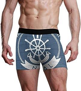 GOSMAO Fitted Boxer Bóxer Patrón de Ancla oceánica Boxer Calzoncillos para Hombre,7,XXL