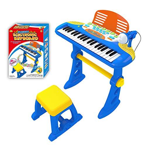 HENG Klaviertastatur Kinder, 37 Tasten Elektronische Tastatur Multifunktionelle Klavier Piano Spielzeug mit Mikrofon für Kinder