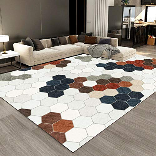 no brand Alfombra moderna para sala de estar, diseño de mosaico, color blanco, 80 x 160 cm, para interiores o exteriores, para sala de estar o patio.