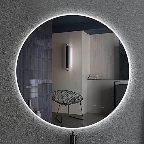 YZJJ Espejo de baño Redondo LED Espejo de tocador montado en la Pared Redondo Espejos Circulares con Sensor táctil Regulable Espejo retroiluminado Iluminado Grande