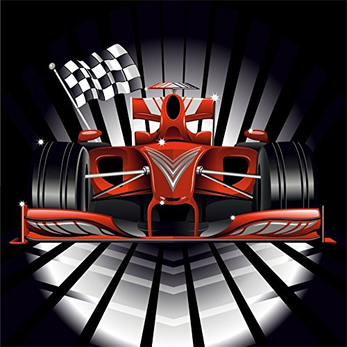 LFEEY 6x6ft Motor Speed Race Track Background Sports Technology Competition Red Race Car and Chequered Flag Background for Kids Children Photoshooting Photo Studio Props