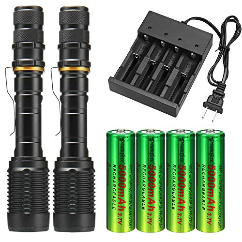 Skywolfeye 2 Packs High 4000 Lumens 18650 Tactical Led Flashlight Torch with 4Pcs 3.7v High Capacity Rechargeable Battery&1Pcs 4 Bays Charger, Bright Adjustable Focus and 5 Modes for Camping Hiking