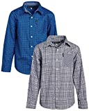 Ben Sherman Boys' Button-Down Shirts - Long Sleeve Cotton Collared Dress Shirt (2 Pack), Grey Plaid/Blue Print, Size 10/12
