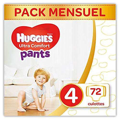 Huggies Ultra Comfort Pants, Culottes absorbantes bébé Taille 4 (9-14 kg), 72 culottes, Unisexe,...