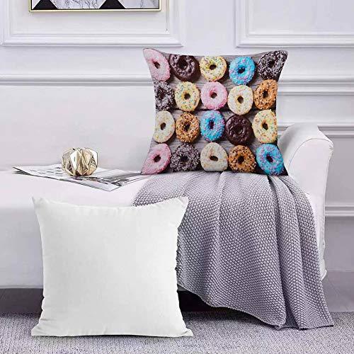 Funda de Cojín Funda de Almohada del Hogar Donuts de Colores Donuts de Chocolate sobre Fondo de Madera rústica Sofá Throw Cojín Almohada Caso de la Cubierta para 45x45cm