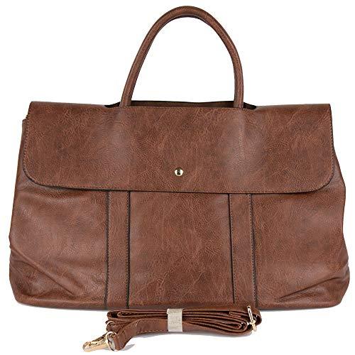 Emila Borsa marrone donna shopping a spalla mano grande capiente color cuoio tipo bag con tracolla shopper da lavoro giorno viaggio passeggio vintage Marrone