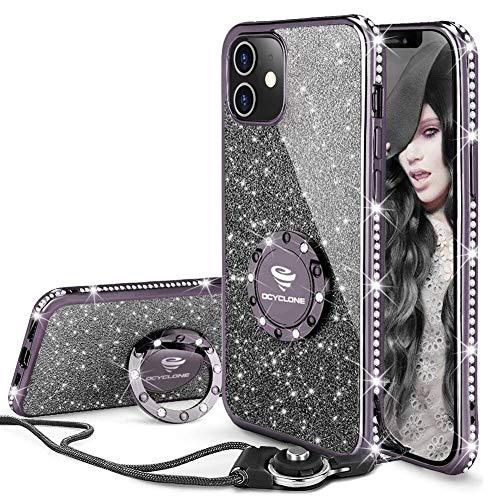 OCYCLONE Funda para iPhone 12 Mini, Glitter Cristal Diamante Brillante y Soporte de Anillo para Niñas y Mujeres, Funda para Teléfono con Purpurina para iPhone 12 Mini de 5.4 Pulgadas - Negro