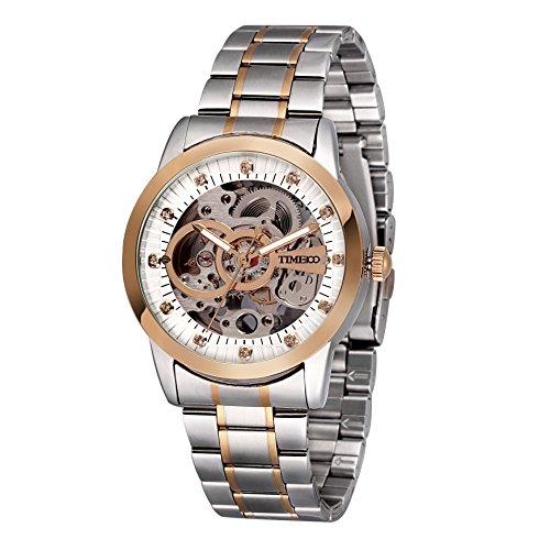 Time100 W60041G.02A moderno automático para hombre correa de acero inoxidable esqueleto reloj mecánico