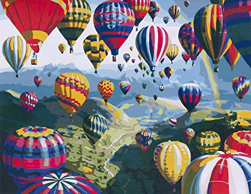 YXQSED Wooden Frame Paint by Numbers Kit for Adults Kids Beginner DIY Oil Painting Paintworks on Canvas -Hot Air Balloon 16x20 Inch