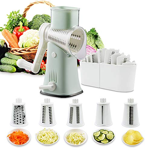 Rotary Graters 5 in 1 Cheese GraterVEKAYA Kitchen Mandoline Slicer Easy Clean with nonbroken strong handheld Julienne Shredder Waffle Slicers for Fruit Vegetables Nuts French Fries green