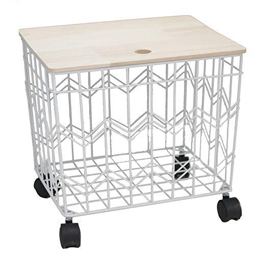 LAMEIDA Metallkorb Mit Holzdeckel Weiß Beistelltisch Rechteck Dekorativer Aufbewahrungshocker 28 * 24 * 25cm Sitzhocker mit Stauraum