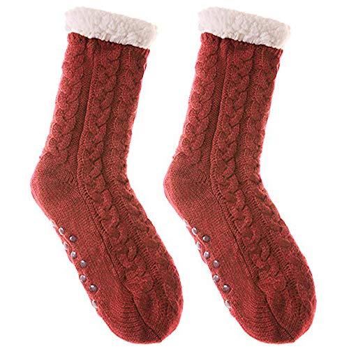SZMRCA New Women Cozy Solid Socks Winter Warm Sleep Bed Socks Floor Home Fluffy Socks Fuzzy Fleece-lined Warmer, D