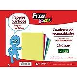 FIXO Kids 00072499-Cuaderno de manualidades escolares surtido, cartulinas, charol, seda, celofán y cartulinas metalizadas