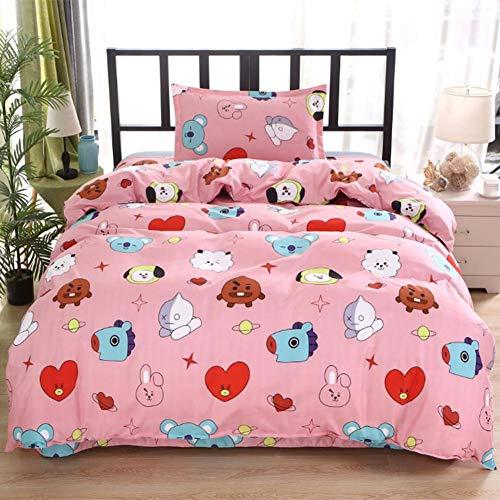 Lievevt Bettbezug-Set mit 3D-Reißverschluss, bedruckt, BTS-Koreanisch, wendbar, Poly-Baumwolle, komplettes Bettwäsche-Set mit Bettlaken und zwei Kissenbezügen (Einzelbettgröße)