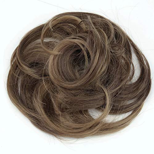 PRETTYSHOP Haarteil Haargummi Hochsteckfrisuren unordentlicher Dutt leicht gewell. Farbe: braun mix G31B