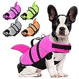 AOFITEE Hundeschwimmwesten Ripstop-Haustier-Schwimmweste, reflektierender Hundemantel mit Haiflosse und Rettungsgriff für kleine, mittelgroße und große Hunde (Pink L)