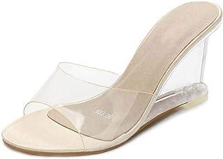 Women'S Transparent Mules Sandals,Ladies PVC Slingback Pumps Shoes for Wedding Peep Toe Slip-On Party Wedding Shoes