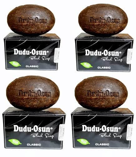 Dudu-Osun - 4x150g BIO, hygieneversiegelt & einzeln verpackt - CLASSIC Schwarze Seife   African Black Soap   Camping-, Dusch-, Rasier-, Gesichtsseife   mit Sheabutter & Aloe Vera [Gesamt: 600g]