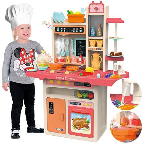 Kinderplay Cocina Juguete, Cocina para Niños - Luz, Agua Vapor, con Sonido, cocinitas de juguetes, altura 93.5 cm, desde el suelo hasta el tablero de la mesa 46 cm. 65 accesorios incluidos, KP9295