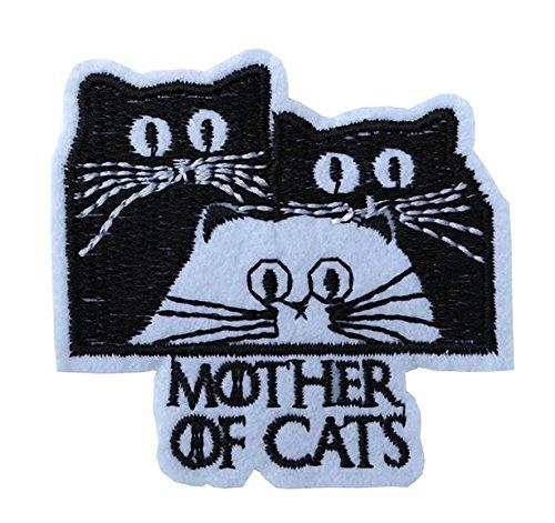 """Bestickter Aufnäher zum Aufbügeln oder Aufnähen, 3 Katzer, Text """"Mother of Cats"""""""