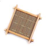 "yazi Bamboo Coasters Teacup Saucers Sets Square Handmade Tea Cup Mat For Kungfu Tea 3.5"" Set of 10"
