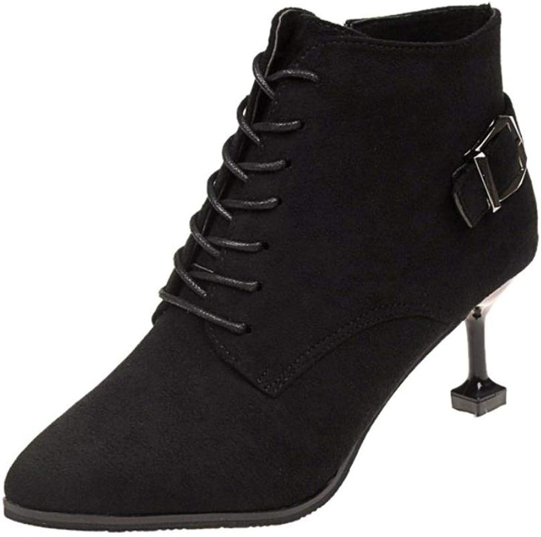 Cdon Womens Elegant Lace Ankle Boot Winter Lace-Up Stiletto Bootie Ladies