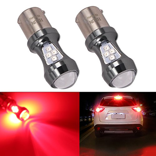 HSUN 1157 BAY15D P21/5W LED lampadina rossa, 12 V-24 V 16 LED SMD3030 Chipset 3200LM estremamente luminose lampadine con Canbus per indicatore LED auto luce freno, confezione da 2