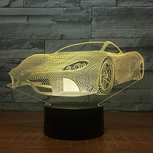 HYCy Sport Auto Form 3D Optische Tauml;uschung Lampe 7 Farben Auml;ndern Beruuml;hrungsempfindliche Und LED Nachtlicht Spielzeug (Farbe, Touch)