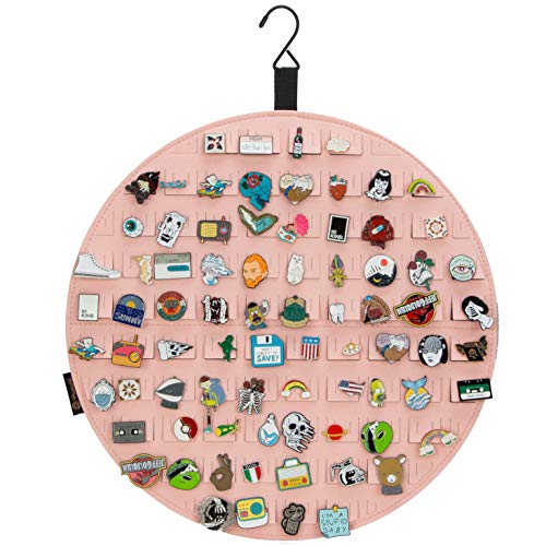 PACMAXI Hanging Brooch Pin Display Holder, Wall Pin Collection Storage Organizer, Cute Pin Banner Case Hold Up to 76 Pins.(Pins not Included) (Pink)