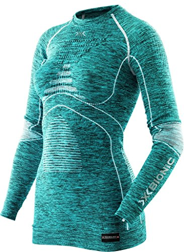 X-BIONIC I100668 T-Shirt à Manches Longues Femme Lake Blue Mel/Blanc FR : XS (Taille Fabricant : XS)