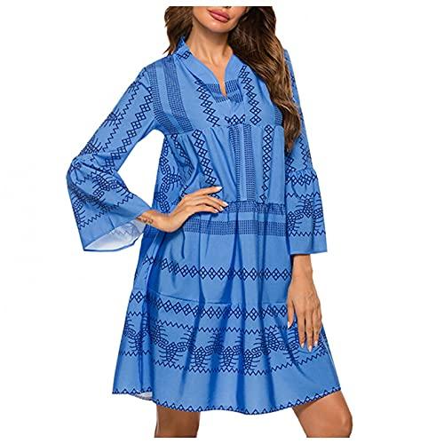GFGHH Vestido de mujer con estampado de túnica, para el tiempo libre, cuello en V, para citas, fiestas, estilo túnica, de manga larga, para fiestas, playa, blusas y cócteles., azul, L/chiquita